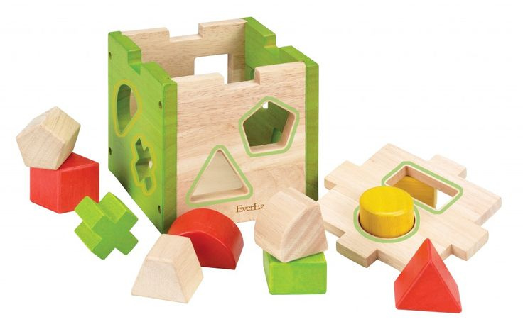 EverEarth Shape Sorter Box – FSC Certified Wood. 10 chunky blocks in different shapes and colours. Learning about the different shapes that exist not only broadens their knowledge of shapes but helps develop their fine motor skills as well as spacial recognition.