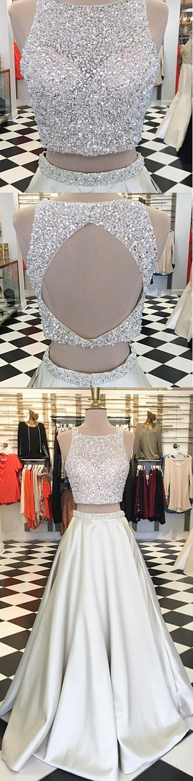silver sparkly long prom dresses, backless prom dresses for women, 2 piece prom dresses, sexy two piece prom dresses, long prom dresses beaded, cheap prom dresses long, dresses for women, new arrival prom dresses, high quality prom dresses 2017