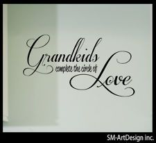 "GRANDKIDS QUOTE ART LETTERING VINYL DECAL wall decor 18"" x 7"" love grandfather"