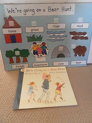 """We're going on a bear hunt"" story board.  Also other activities for a bear unit"