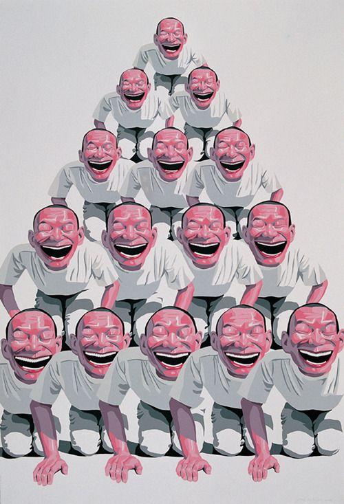 BA compositie/ piramidale of driehoekscompositie (Yue Minjun, 2001)