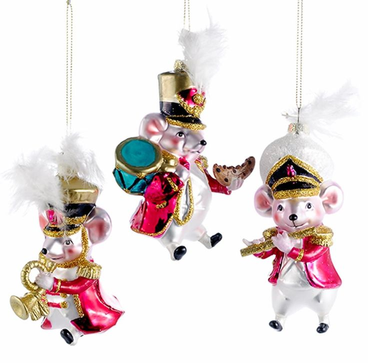 Charming Marching Band Christmas Ornaments Part - 10: Musical Mice Marching Band Christmas Holiday Ornaments Set Of 3 Glass