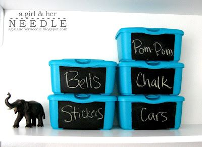 reuse diaper wipe containers for supplies. Add chalkboard vinyl labels