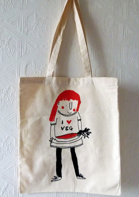 """EMILY MACKENZIE, """"I love vegetables"""" tote bag, hand screen printed. (so great!)"""