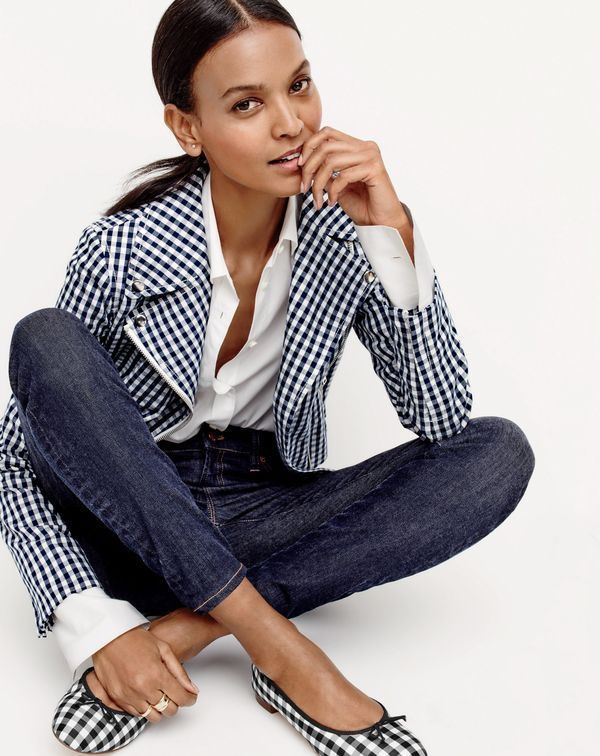 Liya Kebede wearing J.Crew Women's Motorcycle Jacket in Gingham, Thomas Mason® for J.Crew Boy Shirt, Lookout High-Rise Jean in Resin Wash and Kiki Ballet Flats in Gingham. J.Crew April 2016 style guide.
