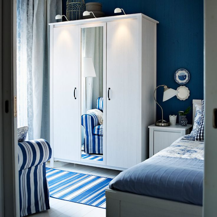 BRUSALI white wardrobe with one mirror door and two white doors