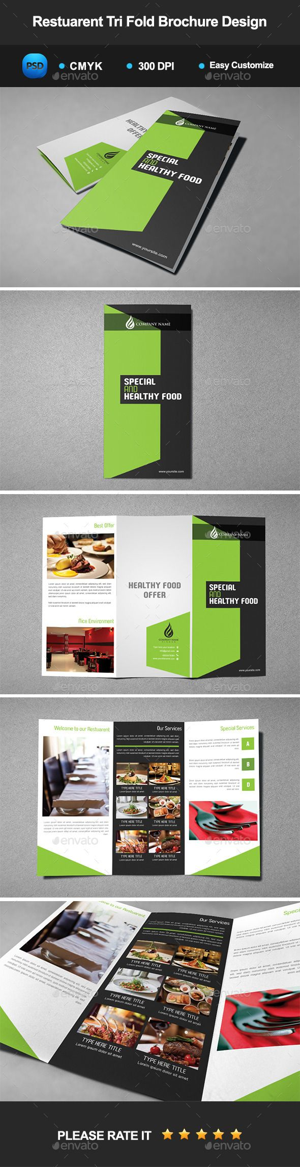 Creative Modern Corporate Brochure Design: Restaurant Tri Fold Brochure Design