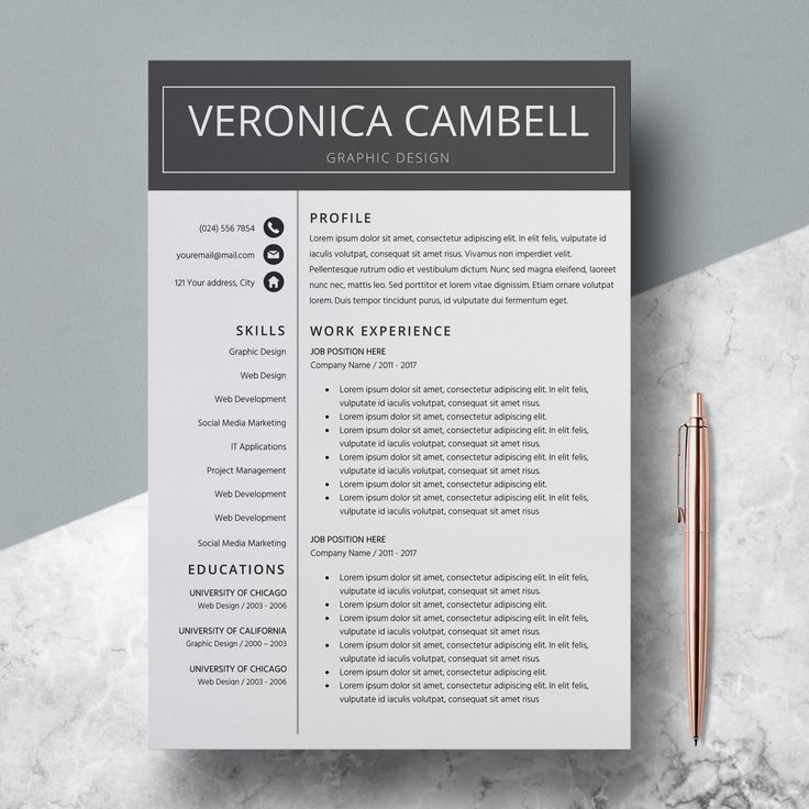 Professional Resume Template Instant Download Word CV