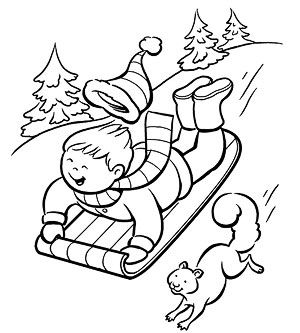 Printable Winter Coloring Pages: Sledding Down the Slope (via Parents.com)