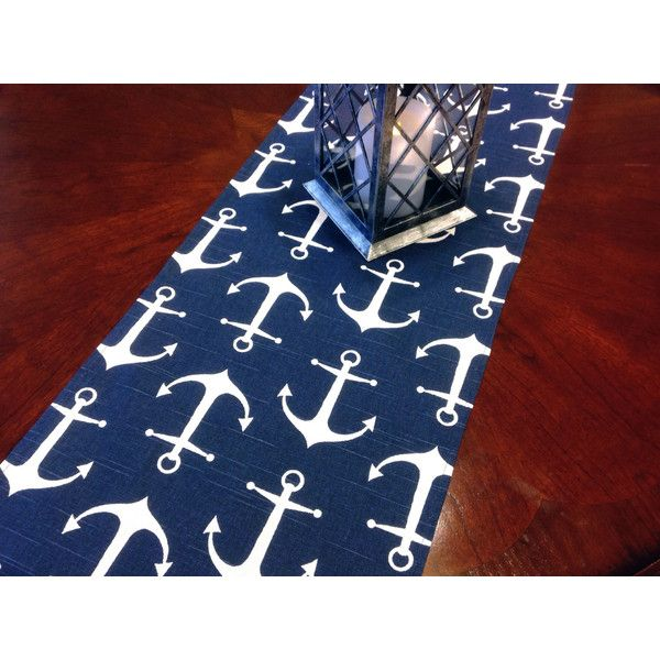 Inventory   1 12x36 Nautical Small Anchor Table Runner ($7) ❤ liked on Polyvore featuring home, kitchen & dining, table linens, grey, home & living, linens, grey table runner, gray table runner, nautical table runner and square table linens