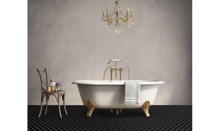 płytka czarna szkliwiona arabeska mozaika do kuchni i łazienki
