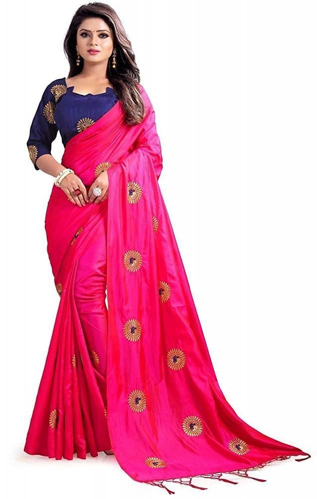 db44568d57478 Women s Paper Silk Embroidered Saree With Blouse Piece  SakarbaFashion   Beauty