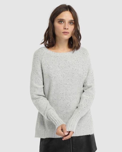 Jersey de mujer Easy Wear con lentejuelas y cuello redondo  0dde647dbe2e