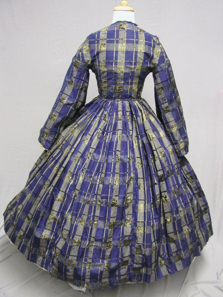 1062 1860's Blue White Black Silk Plaid Day Dress Civil War | eBay