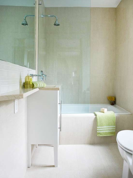 The narrow shelf next to the vanity adds extra counterspace in this small bath.: Colour, Idea, Small Bathroom, Ensuite