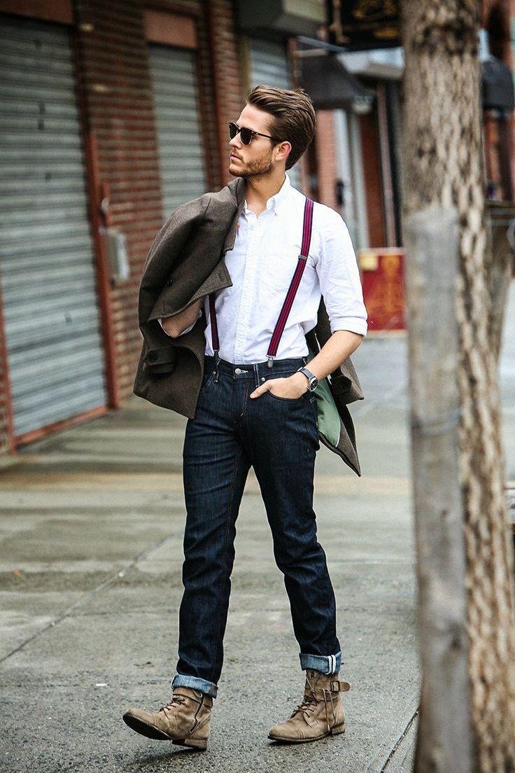 Acessórios como suspensórios , em conjunto com coturnos e calça jeans, são a marca registrada do estilo na moda masculina! Esse tipo de look é ideal para dias frios. #FashionSSJ #ShopSãoJosé