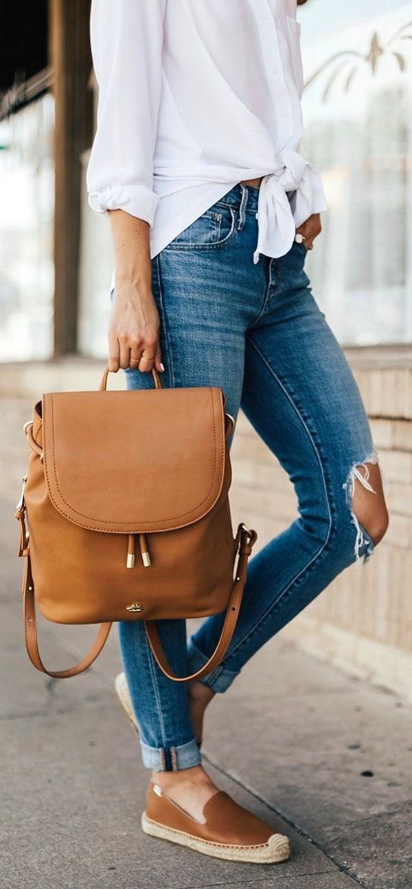 #summer #outfits  White Tie Blouse   Destroyed Skinny Jeans   Brown Pumps