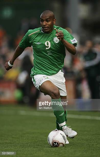 Clinton Morrison of the Republic of Ireland in action during the Group Four World Cup 2006 qualifying match between Republic of Ireland and Israel at...