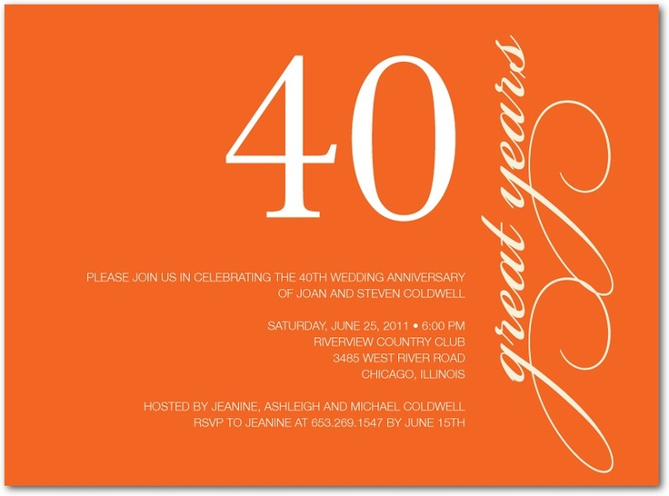 10 best 40th wedding anniversary invitations images on Pinterest