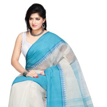 White and Aqua Blue Cotton Tant Handloom Saree with Blouse