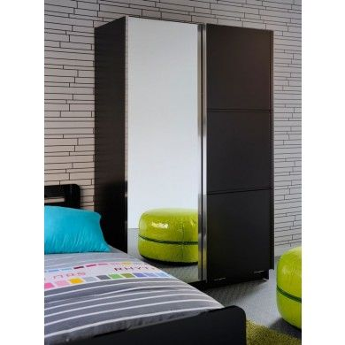 The High Tek Wardrobe In Black Has Sliding Doors, One Of Which Is A Full