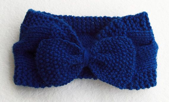 Women's Knitted Bow Headband Turban in Blue от Need4KnitShop