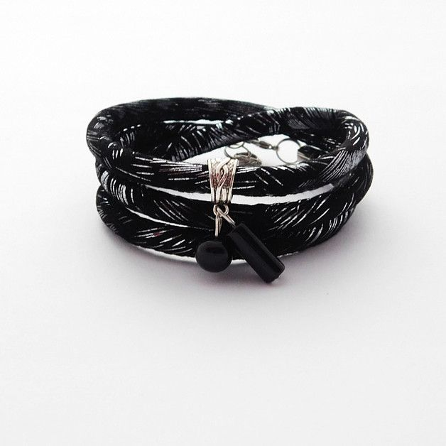 Shiny Glamour czarno-srebrna - NaLeMi-jewellery - Bransoletki