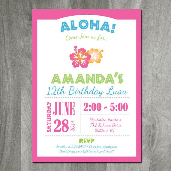 This is custom invitation, perfect for a luau party or Hawaiian themed birthday party! Colors and text can be changed to your specifications.