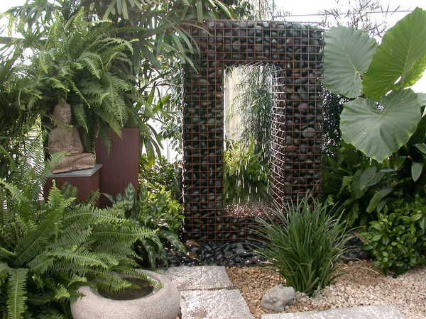 water feature made with gabions filled with rock