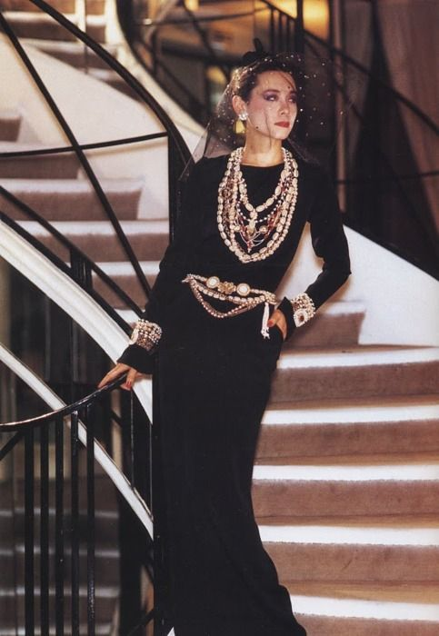 Tina Chow in Chanel haute couture (1983), encrusted with triompe l'oeil embroidery (Lesage). Photo: David Seidner.