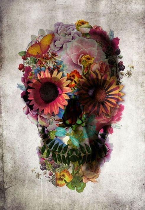 Kind of ugly and pretty at the same time :): Tattoo'S Idea, Skulls Tattoo'S, Floral Skulls, Skulls Art, Flower Power, A Tattoo'S, Sugar Skulls, Flower Skulls, Thighs Tattoo'S