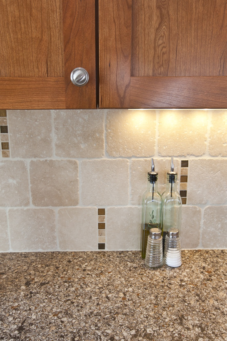 Travertine backsplash scattered glass accent tile Backsplash ideas quartz countertops