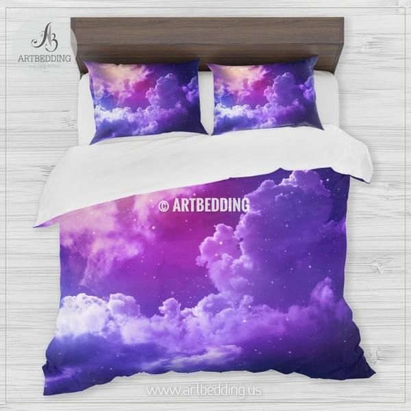 Stars In The Night Blue And Purple Sky Bedding Queen King Full Twin Stars Galaxy Duvet Co Purple Bedding Bed Linens Luxury Luxury Bedding Master Bedroom
