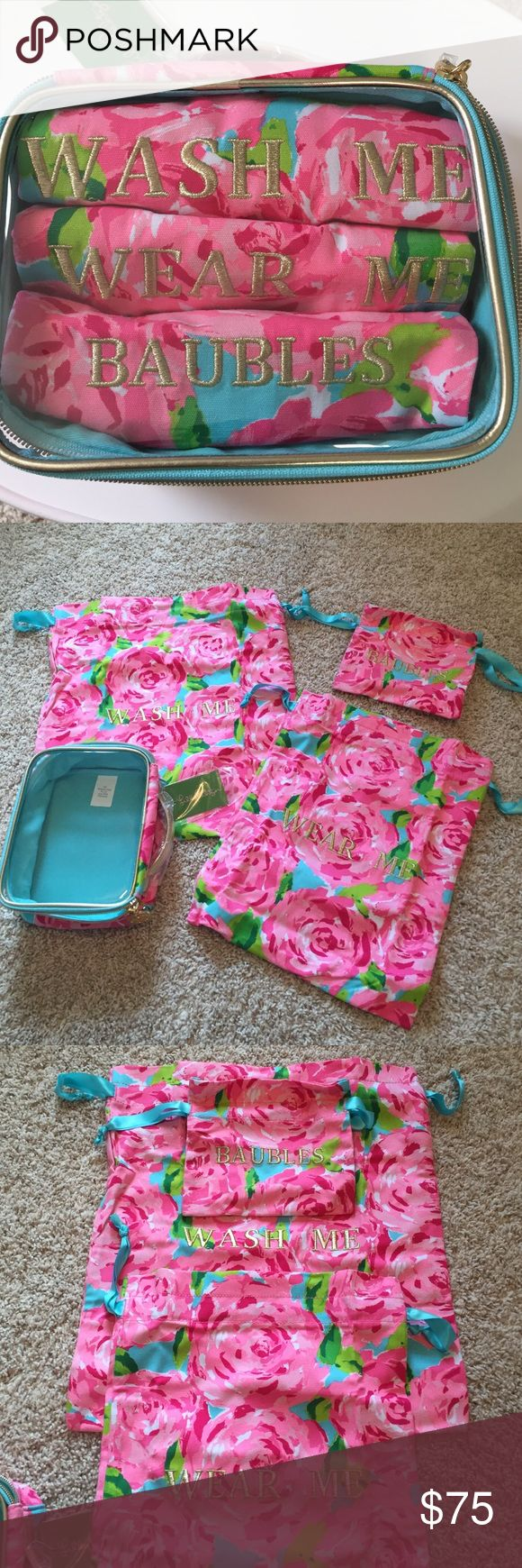 NWT Lilly Pulitzer Wash & Wear Bags with Case NWT Lilly Pulitzer Wash & Wear Bags/Pouches with Case (Wash Me, Wear Me, Baubles). Style # 19854, Hotty Pink, First Impression Accessories. Great for travel! Store clothes and jewelry. Check out the other items in my closet (including Lilly) to bundle & SAVE $$! Lilly Pulitzer Bags Travel Bags