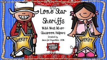 "Your students are sure to have a rootin' tootin' good time taking turns as the daily Lone Star Sheriffs or ""teacher assistants!"" Clip art from Melonheadz, Scrappin' Doodles, and Krista Wallden is featured in this thematic resource!  Two deputy badges and eight colorful posters are included, and should be laminated for durability."