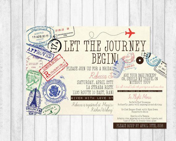 Travel Invitation, Travel Bridal Shower Invitation, Adventure Bridal Shower Invitation, Passport Invitation, Passport Stamp Invitation