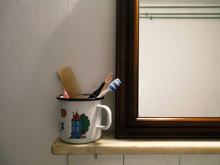 bathroom accessories - enamel mug featuring the moomins by muurila