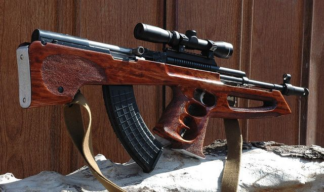 """I always thought putting """"tactical"""" bullshit n an SKS should be a crime.This aftermarket stock  however, makes it look like quality art...SKS with custom bullpup"""