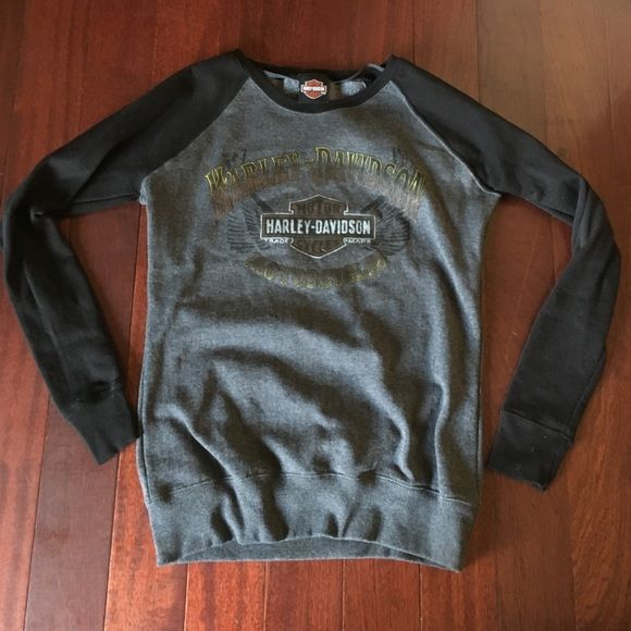 Crew Neck Harley Davidson sweatshirt Grey with black sleeves, Harley Davidson writing on front with wings, worn once Harley-Davidson Tops Sweatshirts & Hoodies