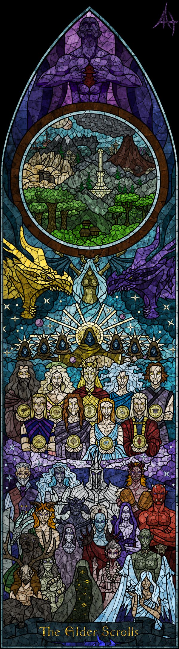 Stained glass of main and/or important religions of the Elder Scrolls games. We have the Tribunal, the Dragon Cult, the Nine Divines, and the Daedric Princes. In the circle, the provinces of Tamriel are shown.