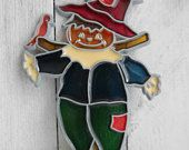 Scarecrow Suncatcher Ornament with Jack O Lantern/Pumpkin Face & Bird, Polychrome Plastic Resin Panes, Metal Frame