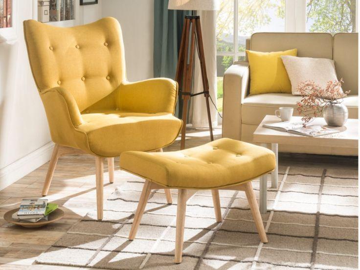 Sessel Stoff Esben + Fußhocker - Gelb