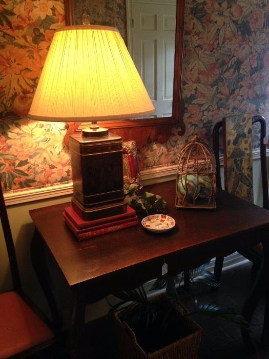 Asian lamp; antique entry table with drawer, flanked by a pair of Queen Anne chairs  New Divide & Conquer sale starting this Thursday April 6-April 8, 2017 check out the details here:  http://divideandconquerofeasttexas.com/nextsales.php  #estatesales #consignments #consignment #tyler #tylertx #tylertexas #organizing #organizers #professionalorganizer #professionalorganizers #movingsale #movingsales #moving #sale #divideandconquer #divideandconquerofeasttexas #divideandconquereasttexas…