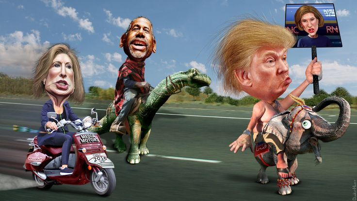"The Republican Front Runners | by DonkeyHotey.  In the words of Rachel Maddow, ""poof"" and ""poof"""