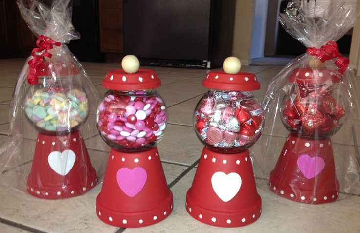 "Valentine ""gumball"" machine from clay pot and candle globe"
