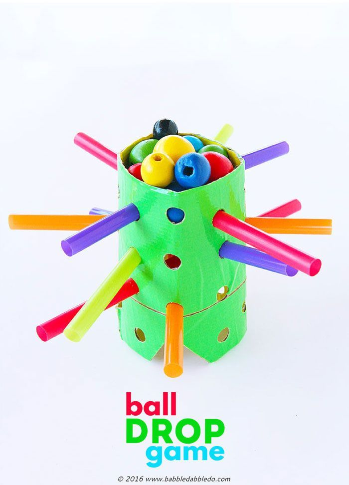 TP roll craft idea: Transform a cardboard tube into this easy to make DIY game inspired by the classic Kerplunk.
