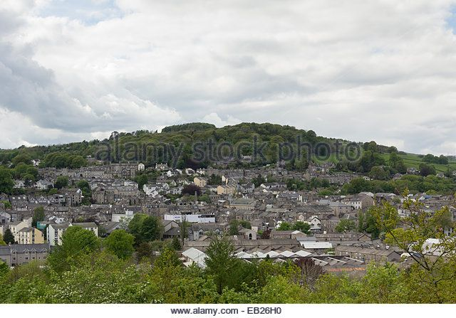 Kendal town landscape viewing the town and Kendal Fell beyond, from Castle Hill, Kendal. - Stock Image