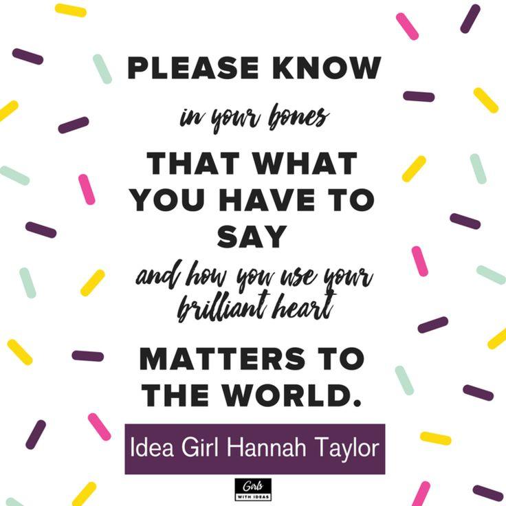 Meet an Idea Girl: Hannah Taylor from www.girlswithideas.com