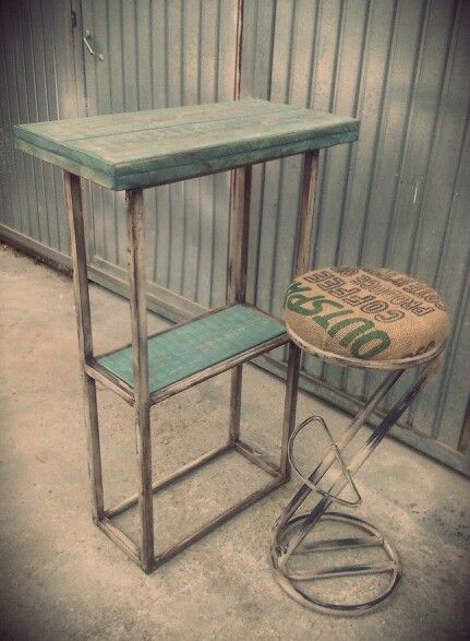 Mesa alta bar taburete metalico saco de cafe estilo vintage industrial muebles para - Mobiliario vintage industrial ...