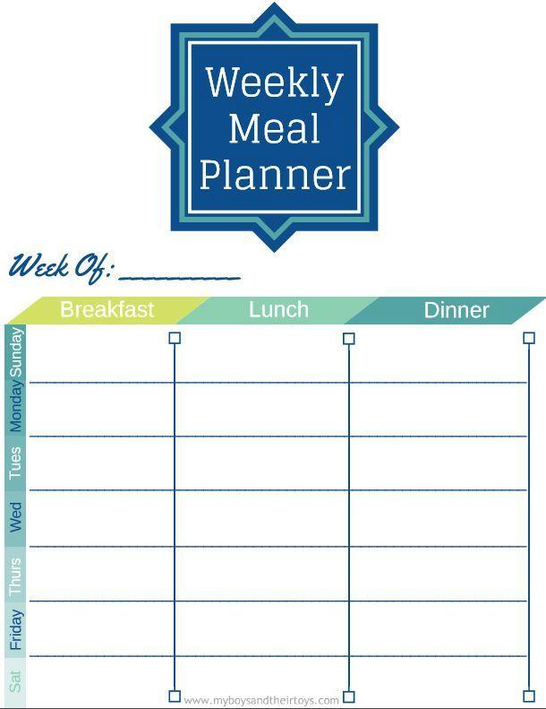 printable weekly meal planners